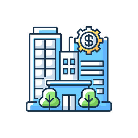 Banks and financial institutions RGB color icon. Business operations. Banking institutions. Investment companies. Brokerage firms. Insurance companies. Pension funds. Isolated vector illustration Vektorové ilustrace