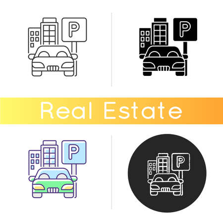 Parking spot icon. Lot for automobiles near home. Space for car near residential building. Garage area service. Transport regulation. Linear black and RGB color styles. Isolated vector illustrations 矢量图像