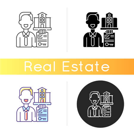 Realtor icon. Real estate agent. Business contract. Invest money in realty. Residential property for sale. House mortgage. Linear black and RGB color styles. Isolated vector illustrations