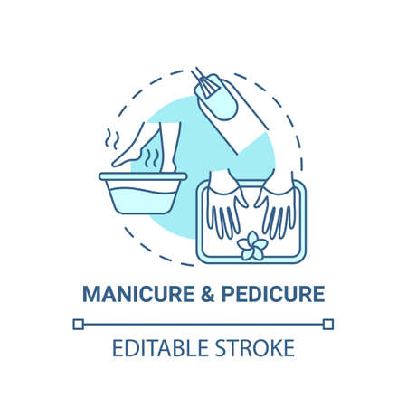 Manicure and pedicure concept icon. Me time ideas. Face beauty improvement advices. Spa day salons idea thin line illustration. Vector isolated outline RGB color drawing. Editable stroke