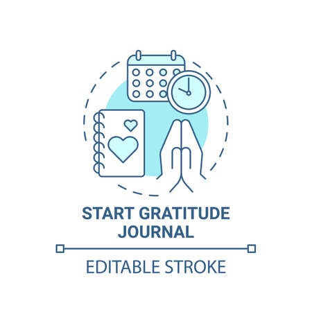 Start gratitude journal concept icon. Self care practices. Tool to keep track of good things you do everyday idea thin line illustration. Vector isolated outline RGB color drawing. Editable stroke Ilustração