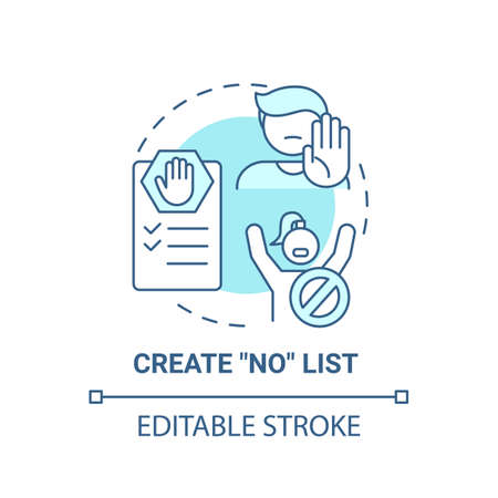 Create no list concept icon. Self care checklist. Healthy restriction for your health. Everyday limitations idea thin line illustration. Vector isolated outline RGB color drawing. Editable stroke