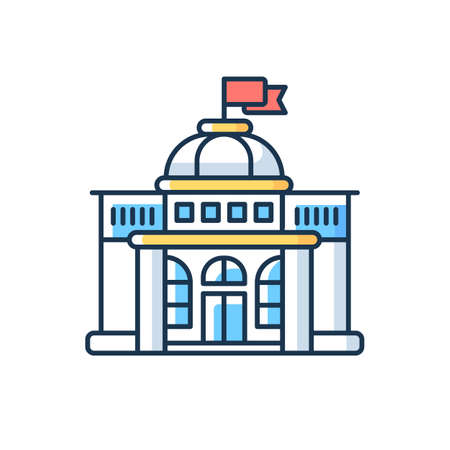 Government RGB color icon. Authorities. Political power. Legislature, executive and judiciary. Governmental organizations. Electoral contest. Political systems. Isolated vector illustration