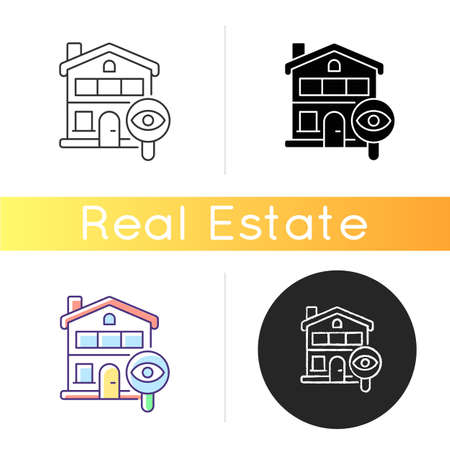 Home tour icon. Search for housing. Look for home. Residential property. Discover real estate. Potential accommodation. Linear black and RGB color styles. Isolated vector illustrations  イラスト・ベクター素材