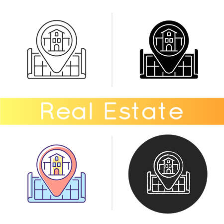 House location icon. Pinpoint home on map. GPS marker for residential accommodation. Search for real estate. Apartment position. Linear black and RGB color styles. Isolated vector illustrations