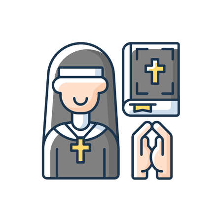 Clergy RGB color icon. Spiritual leaders. Religious duties. Church. Formal leaders within established religions. Specific rituals. Performing spiritual functions. Isolated vector illustration Vectores