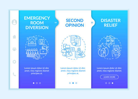 Telemedicine pros onboarding vector template. Emergency medical help. Another doctor opinion. Responsive mobile website with icons. Webpage walkthrough step screens. RGB color concept