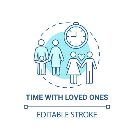 Time with loved ones concept icon. Self care checklist. Close relatives warm relationship. Whole family activity idea thin line illustration. Vector isolated outline RGB color drawing. Editable stroke