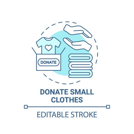 Donate small clothes concept icon. Body positivity tips. Giveaway old unused things. Helping other people idea thin line illustration. Vector isolated outline RGB color drawing. Editable stroke Ilustração