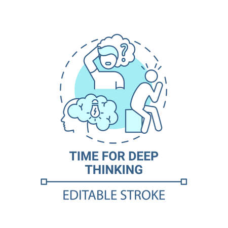 Time for deep thinking concept icon. Me time benefits. Inside thoughts analysing life. Mental health improving idea thin line illustration. Vector isolated outline RGB color drawing. Editable stroke