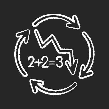 Negative synergy chalk white icon on black background. Decline in financial figures. Economic failure. Loss of investment. Arrow down. Recession in economy. Isolated vector chalkboard illustration