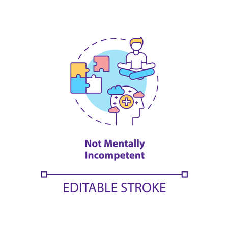 Not mentally incompetent concept icon. Online voting requirement idea thin line illustration. People with mental disabilities. Vector isolated outline RGB color drawing. Editable stroke