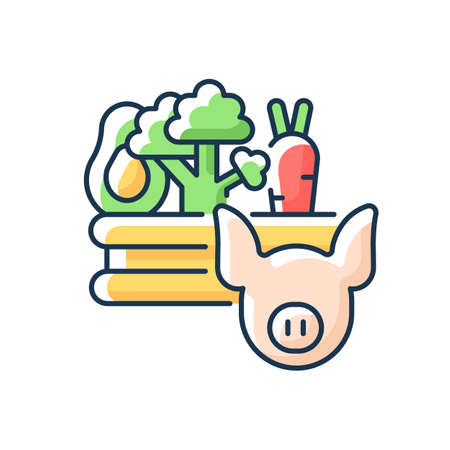 Food and agriculture RGB color icon. Agribusiness. Farming. Livestock industry. Agricultural production and distribution. Food and beverage production. Agri-food. Isolated vector illustration