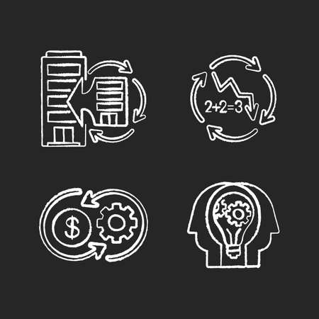Business synergy chalk white icons set on black background. Corporate expansion. Company merge. Decline in numbers. Decrease in figures. Money flow. Isolated vector chalkboard illustrations