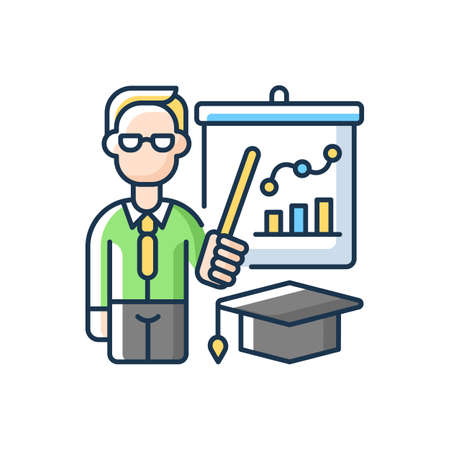Educators RGB color icon. Essential workers. Teachers. Educational institutions. School, college, university. Professors. Specialist in educational theory and methods. Isolated vector illustration