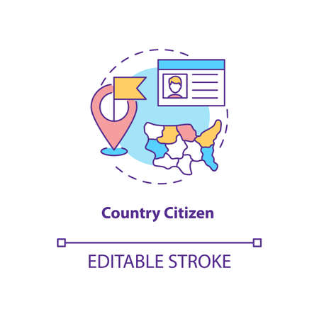 Country citizen concept icon. Online voting requirement idea thin line illustration. Legal status. Citizenship. Nationality. Naturalization. Vector isolated outline RGB color drawing. Editable stroke