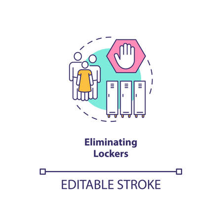 Eliminating lockers concept icon. Covid school safety rule idea thin line illustration. Individual student locker. Social distancing efforts. Vector isolated outline RGB color drawing. Editable stroke