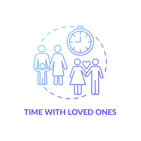 Time with loved ones concept icon. Self care checklist. Loving relatives everyday relationship. Family activities idea thin line illustration. Vector isolated outline RGB color drawing