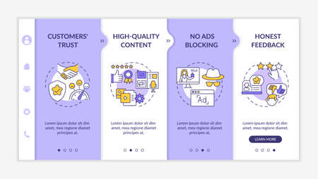Influencer marketing advantages onboarding vector template. Customers trust. No ads blocking. Responsive mobile website with icons. Webpage walkthrough step screens. RGB color concept