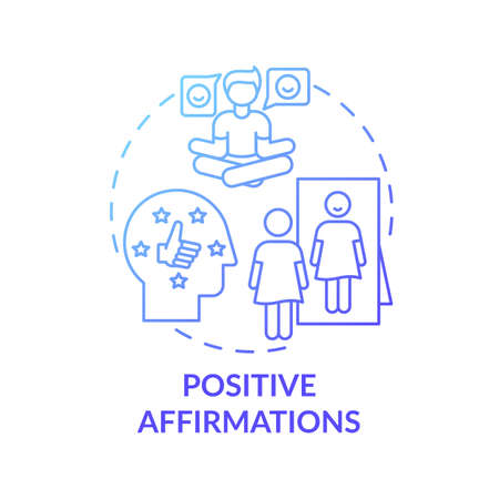 Positive affirmations concept icon. Body positivity tutorials. Healthy everyday life advices. Way to healthy thinking idea thin line illustration. Vector isolated outline RGB color drawing