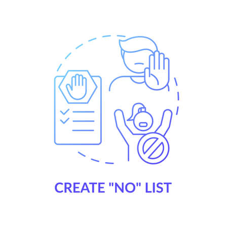 Create no list concept icon. Self care checklist. Healthy body restriction for everyday. Activities limitations idea thin line illustration. Vector isolated outline RGB color drawing