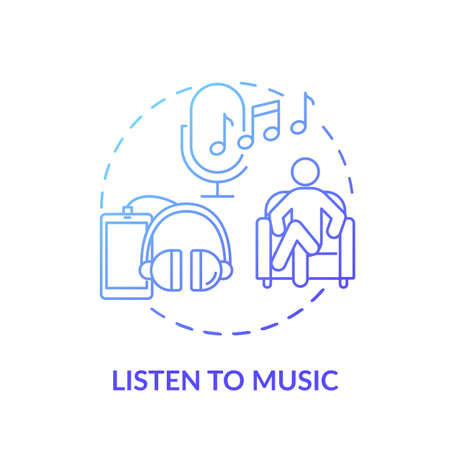 Listen to music concept icon. Self care practices. Hearing inspiration therapy. Health improving music. Relaxation method idea thin line illustration. Vector isolated outline RGB color drawing
