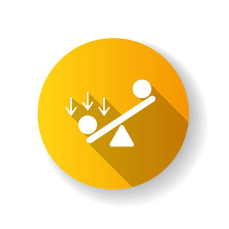 Synergy bias yellow flat design long shadow glyph icon. Unbalanced scale. Advantage and disadvantage on scale. Competitive struggle, overweight in balance. Silhouette RGB color illustration