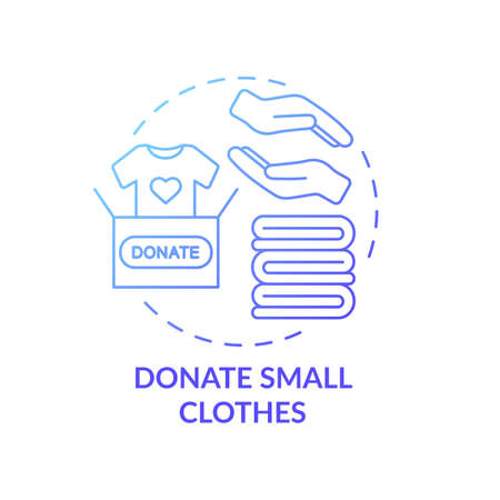 Donate small clothes concept icon. Body positivity tips. Giveaway old things you do not need. Helping others with material idea thin line illustration. Vector isolated outline RGB color drawing