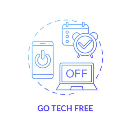 Go tech free concept icon. Me time ideas. Day without digital devices and internet. No phones and computers. Free technology day idea thin line illustration. Vector isolated outline RGB color drawing