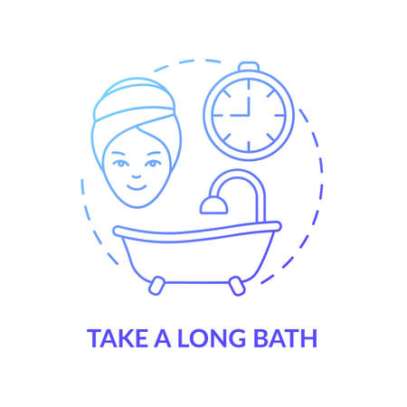Take a long bath concept icon. Me time ideas. Relaxing spa and beauty day. Body cleaning procedures. Self care idea thin line illustration. Vector isolated outline RGB color drawing