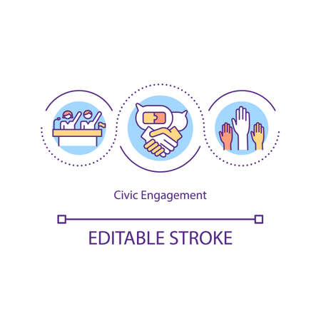 Civic engagement concept icon. Collective actions. Public concern. Socio-economic life. Civic participation idea thin line illustration. Vector isolated outline RGB color drawing.
