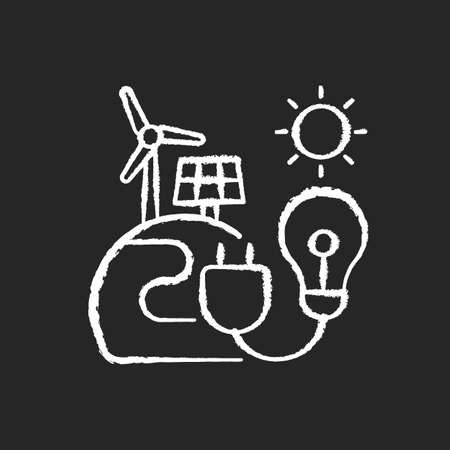 Energy sector chalk white icon on black background. Renewable-energy facilities. Solar and wind farms. Electricity generation. Environmental impact. Isolated vector chalkboard illustration