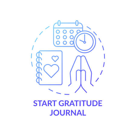 Start gratitude journal concept icon. Self care practices. Tool for keeping track of healthy things you have done idea thin line illustration. Vector isolated outline RGB color drawing