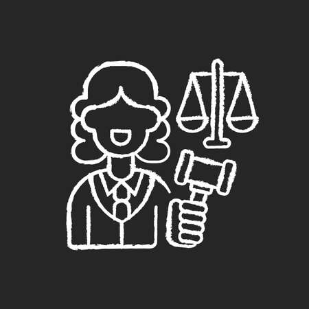 Justice sector chalk white icon on black background. Judiciary. Legitimacy. Court. Judicial reform. Practising lawyers. Executive and legislature power. Isolated vector chalkboard illustration