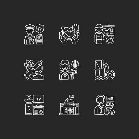 Routine services chalk white icons set on black background. Public safety. Public health. First responders. Weather forecasters. Research. Water, wastewater. Isolated vector chalkboard illustrations