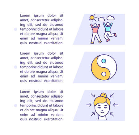 Balanced life key concept icon with text. Care yourself. Spirituality. Well-being. Happiness lifestyle. PPT page vector template. Brochure, magazine, booklet design element with linear illustrations