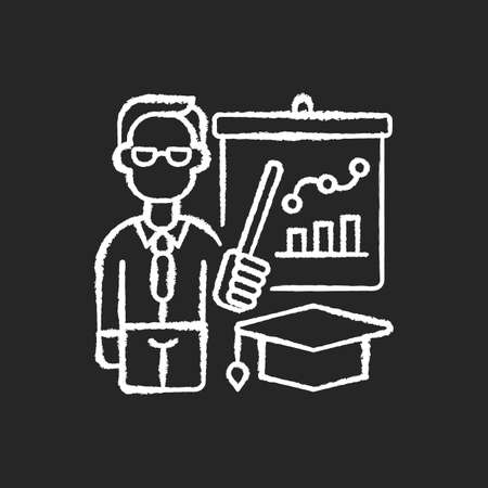 Educators chalk white icon on black background. Essential workers. Teachers. Educational institutions. Professors. Specialist in educational theory. Isolated vector chalkboard illustration