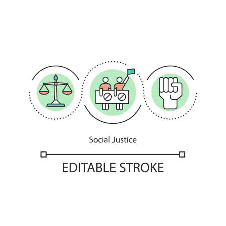 Social justice concept icon. Liberation and revolution. Social movements and change. Human rights and equality idea thin line illustration. Vector isolated outline RGB color drawing. Ilustracja