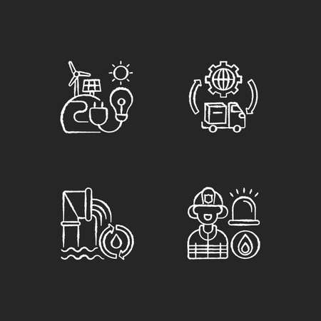 Basic services chalk white icons set on black background. Renewable-energy facilities. Water and wastewater. Firefighting. Transportation, logistics. Truck. Isolated vector chalkboard illustrations Ilustracja