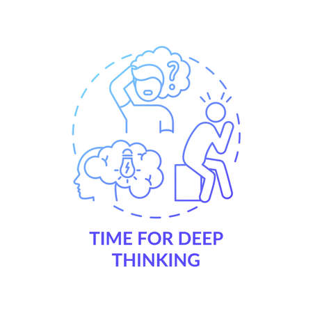 Time for deep thinking concept icon. Me time benefits. Inside your mind thoughts analysing process. Mental health upgrading idea thin line illustration. Vector isolated outline RGB color drawing