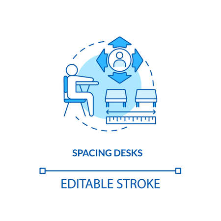 Spacing desks concept icon. Covid school safety rule idea thin line illustration. Space seating. Creating distance between students. Vector isolated outline RGB color drawing. Editable stroke Ilustracja