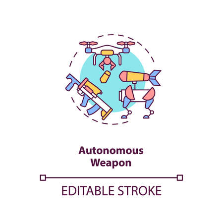 Autonomous weapon concept icon. Future army technologies. Dangerous for life devices. AI threats idea thin line illustration. Vector isolated outline RGB color drawing. Editable stroke Ilustracja