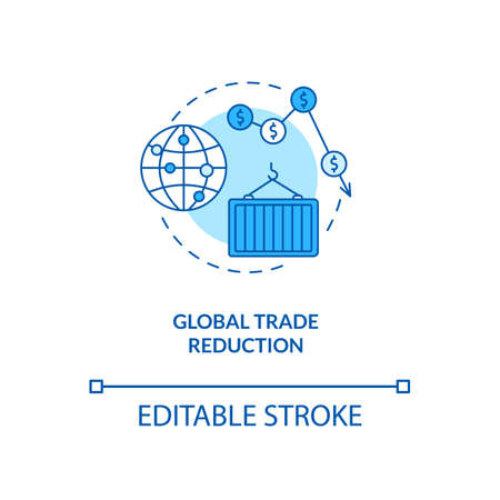 Global trade reduction concept icon. Reverse globalization trend idea thin line illustration. World economy. Business environment. Vector isolated outline RGB color drawing. Editable stroke