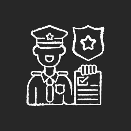 Law enforcement chalk white icon on black background. Police officer. Cop. Sheriff. Maintaining public order and safety. Lives and property protection. Isolated vector chalkboard illustration