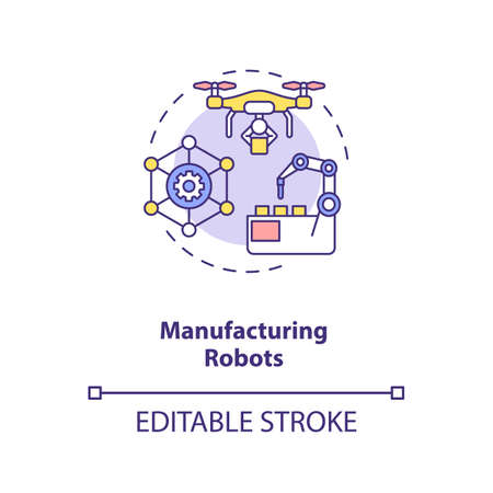 Manufacturing robots concept icon. Future digital life. Smart computers creation. AI application idea thin line illustration. Vector isolated outline RGB color drawing. Editable stroke Ilustracja