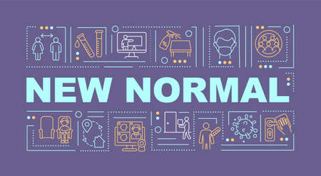 New normal word concepts banner. Online shopping and education. Coronavirus crisis. Infographics with linear icons on purple background. Isolated typography. Vector outline RGB color illustration