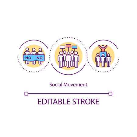 Social movement concept icon. Political and social issues. Collective actions. Group of activists idea thin line illustration. Vector isolated outline RGB color drawing. Ilustracja