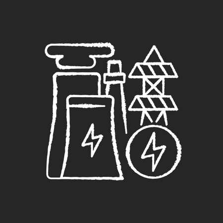 Electricity industry chalk white icon on black background. Electrical power. Renewable and micro energy resources. Electricity generation technology. Isolated vector chalkboard illustration
