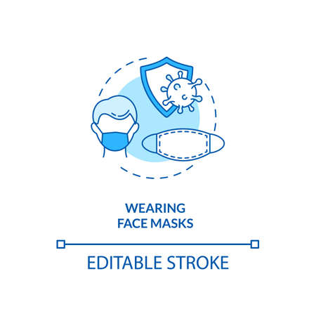 Wearing face masks concept icon. New public rule idea thin line illustration. Prevention measures. Face coverings. Respiratory diseases. Vector isolated outline RGB color drawing. Editable stroke