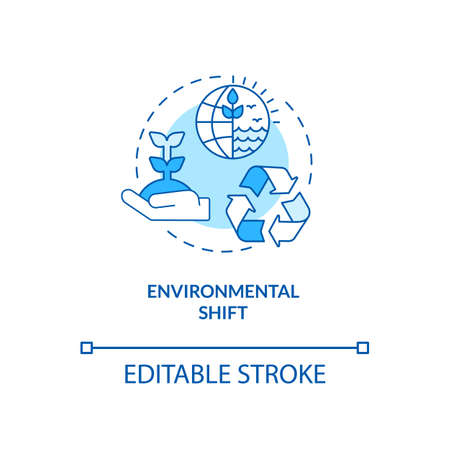 Environmental shift concept icon. Social change benefit idea thin line illustration. Climate changes. Air, water and ground pollution. Vector isolated outline RGB color drawing. Editable stroke Ilustracja